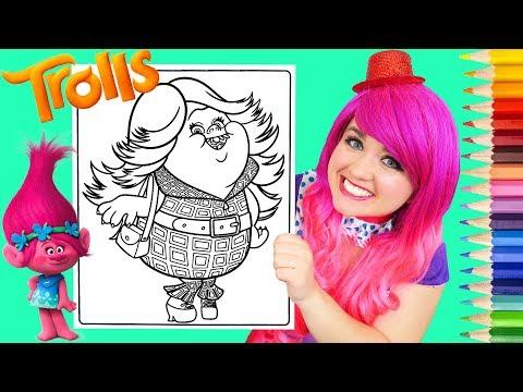 Coloring Trolls Bridget Lady GlitterSparkles Coloring Page Prismacolor Pencils | KiMMi THE CLOWN