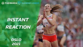 Femke Bol reacts to running another personal best - Oslo 2021 - Wanda Diamond League