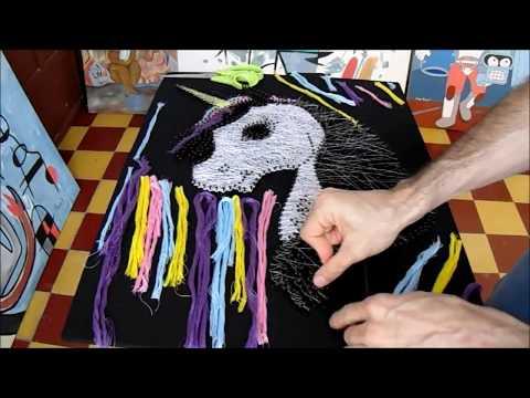 String Art Unicorn Hilorama Cuadro Con Hilos Tensados Unicornio