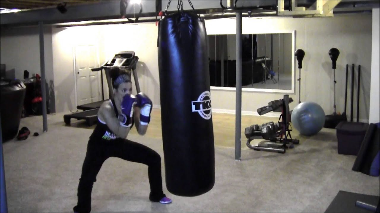 In home boxing workout heavy bag drills for weight loss youtube