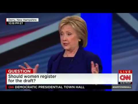 Hillary Clinton is asked if she supports selective service for women