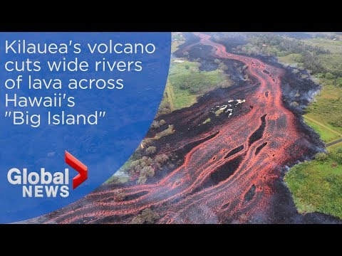 Dramatic aerials trace Kilaueas lava flow as it cuts across Hawaii into the ocean