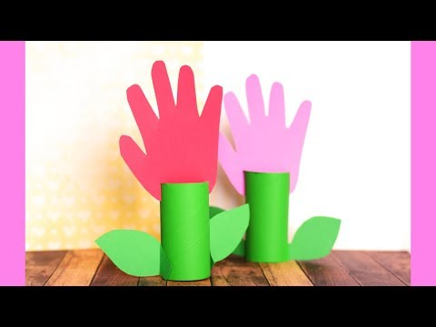 Toilet Paper Roll Handprint Flower - toilet paper roll crafts for kids