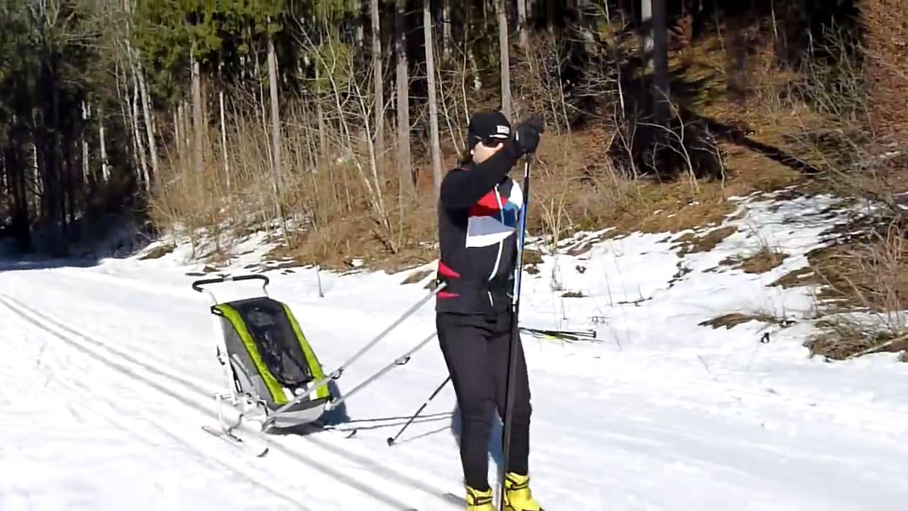 thule chariot ski set im test bike box youtube