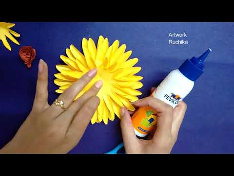 How to Make Yellow Paper Flower |  DIY-Paper Craft | Easy origami Flower
