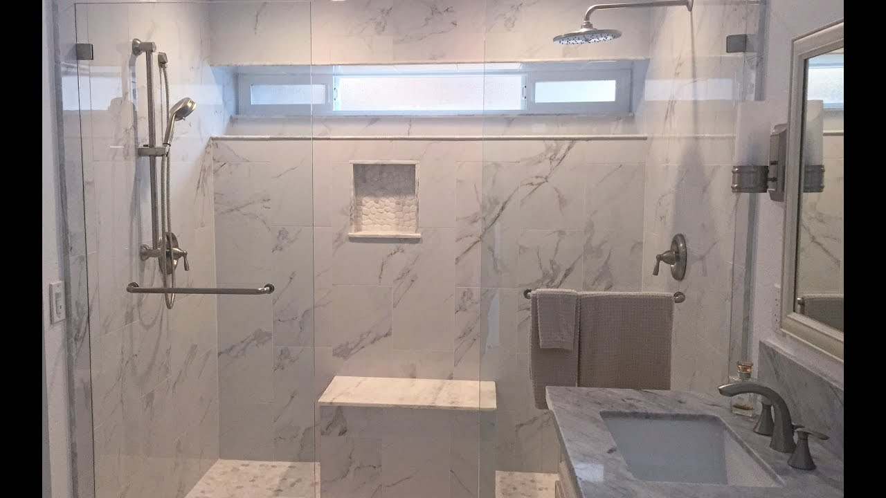 Modern Marble Shower and Bathroom Remodel & Modern Marble Shower and Bathroom Remodel - YouTube