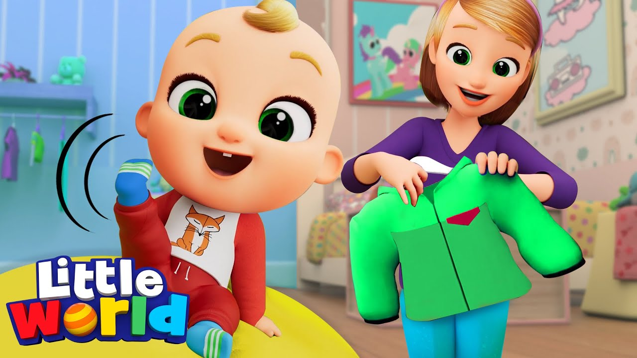 Let's Get Dressed Song   Learning With Nina And Nico   Little World Nursery Rhymes