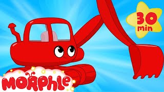 My Red Excavator - My Magic Pet Morphle Digger/excavator Construction Vehicle Video for Kids!