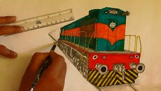 Sketching WDM3D Locomotive in Bokaro Livery [Indian Railways]