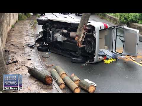 Van Crashed On Side On North Shore, March 12 2019