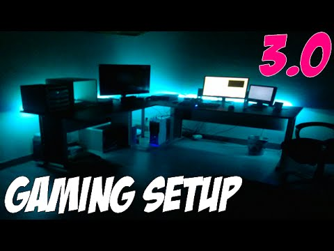 Gaming set up 3 0 led ps4 bureau youtube for Bureau gaming