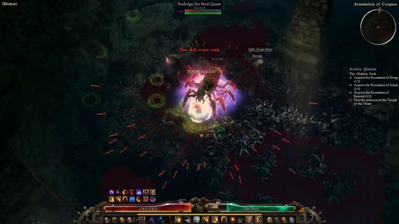 Grim Dawn - The Immortal Retaliator Tactician Against Mad Queen - 1 min 50  sec Kill