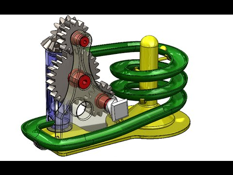 SolidWorks G Tutorial #208: Marble toy of gears (composite curve, gears trans, motion study)