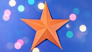 3d origami christmas star paper easy tutorial for kids, for beginners, for christmas tree