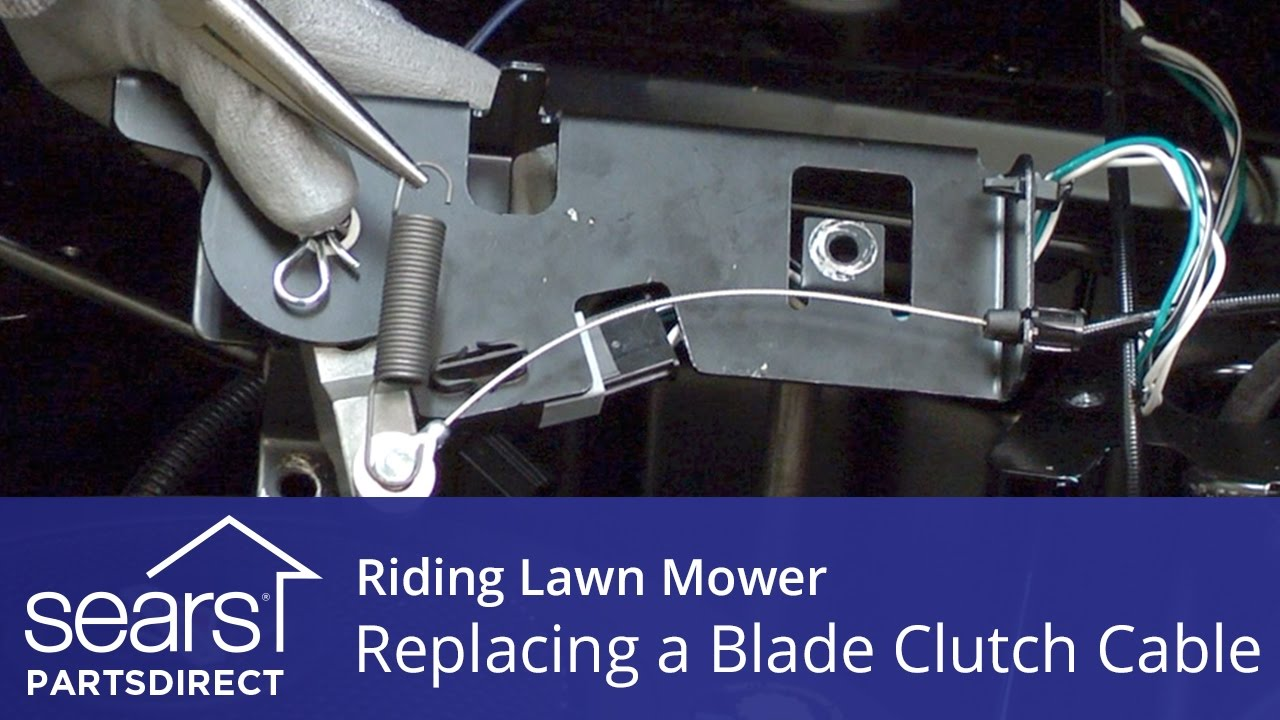 replacing a blade clutch cable on a riding lawn mower [ 1280 x 720 Pixel ]