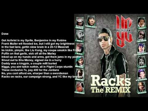 Racks Remix (Full) - YC feat. Various Artists - Bass Boosted w/ Lyrics on Screen