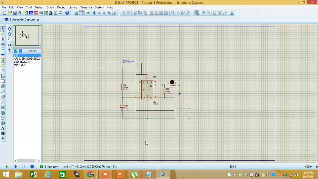 555 Timer Blinker Flasher Circuit In Proteus Youtube Projects For Beginners Delay Design