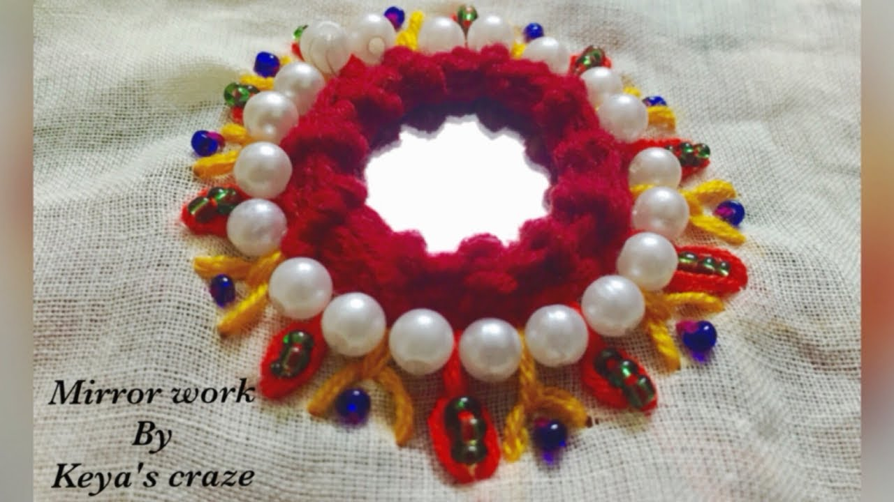 Hand embrodiary design | Mirror work design with pearl bead ...