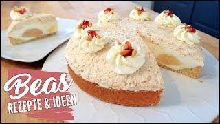 Birnen Quark Torte | Rezept mit Krokant Sahne - Lecker Kuchen backen