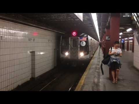 IND 6th Avenue Line: Uptown & Downtown R160A (F) Local Train Action @ (57th Street)