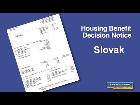 Housing Benefit Decision Notice (Slovak)