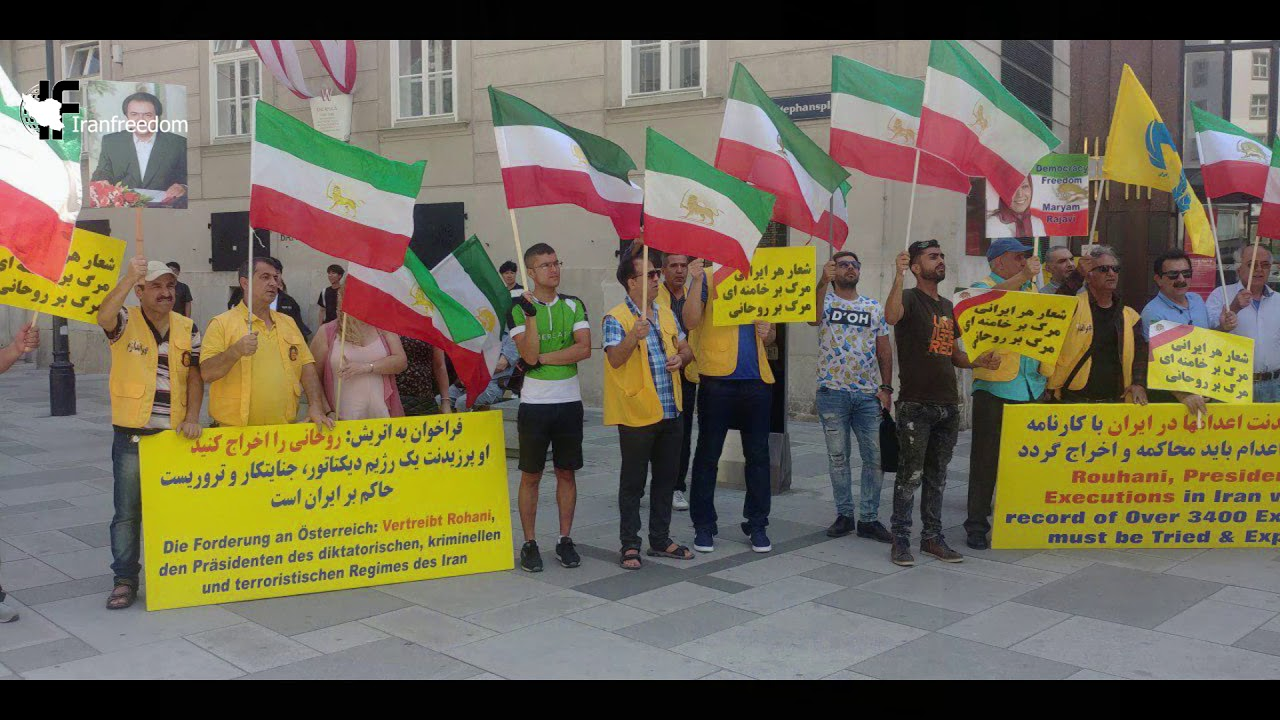 Exiled Iranians protest against Rouhani's trip to Austria
