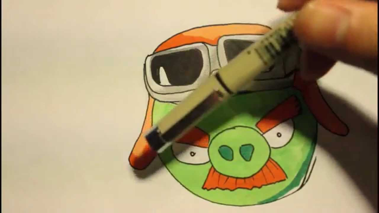 How To Draw The Green Mustache Pig From Angry Birds GO