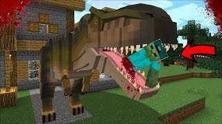 MARK FRIENDLY ZOMBIE GETS ATTACKED BY A GIANT DINOSAUR MOD !! PROTECT ZOMBIE HOUSE !! Minecraft
