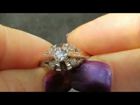 Art Deco Engagement Ring Old European Cut Diamond 14k White Gold Antique c.1920s