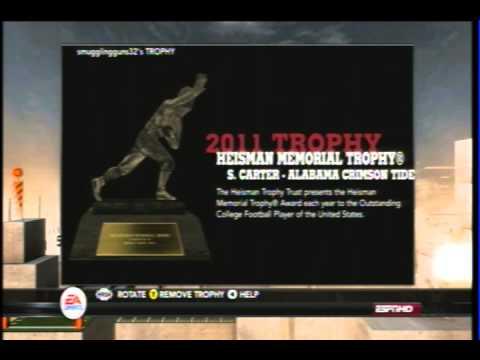 NCAA Football 12 trophy case
