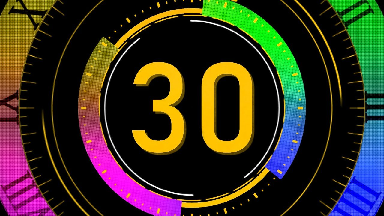 COUNTDOWN TIMER ( v 679 ) 30 sec with sound music effects 4K