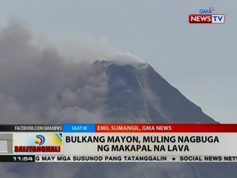 BT: Bulkang Mayon, muling nagbuga ng makapal na lava