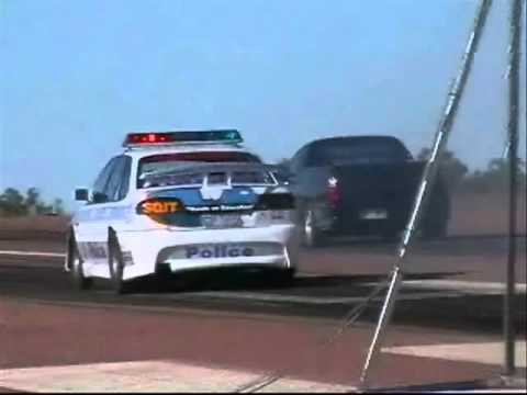 HOLDEN POLICE CAR  VS HOLDEN UTE VIDEO OLD AT CHARTERS TOWERS AIRPORT