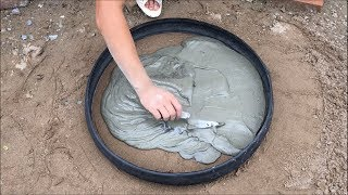 Great creative cement ideas with Bicycle tires - Innovation for your garden design - Diy flower pots