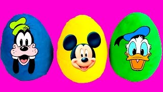 Mickey Mouse & Minnie Mouse Play Doh Surprise Eggs w/ Toys Inside