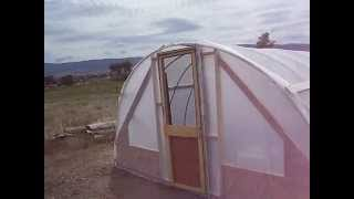 Pvc Greenhouse With Shade Cloth Top And Drip Irrigation In Raised Beds