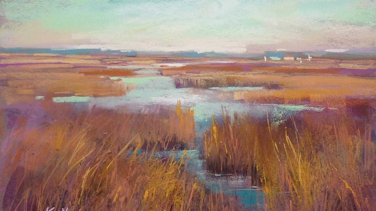 Pastel Painting Demo of a Marsh using Color Schemes  YouTube
