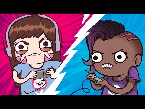 D.va and Sombra Video Game Duel / Overwatch Animation