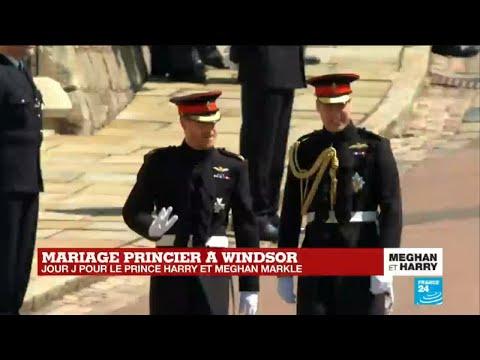 Mariage princier à Windsor : Le Prince Harry arrive à la Chapelle