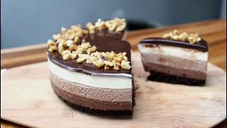 no bake 3 layer chocolate cheesecake