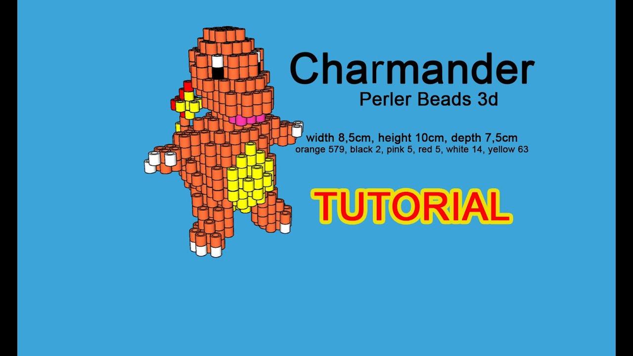 Tutorial Pokemon Charmander 3D perler beads Hama Beads Pyssla