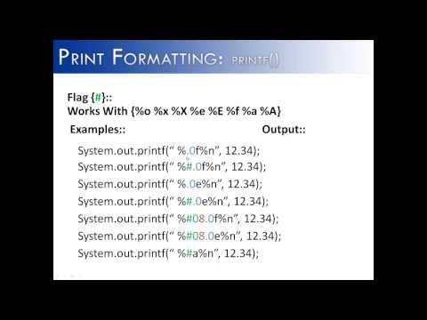 Print Formatting Part 11: printf() Flag # (Java)
