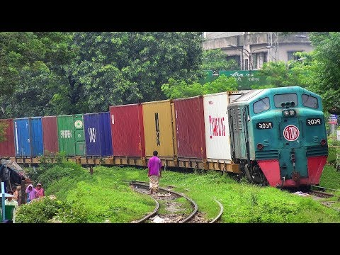 Container Transport Train of Bangladesh Railway skipping Khilgaon- Dhaka, Bangladesh in 4K Ultra HD