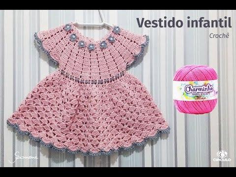 e98e19691dee Vestido de Crochê para bebê pala redonda passo a passo professora Simone  Eleotério