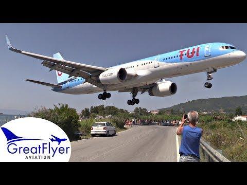 TUI Boeing 757-200 LOW Landing & Takeoff Jetblast at SKIATHOS Airport | Plane Spotting