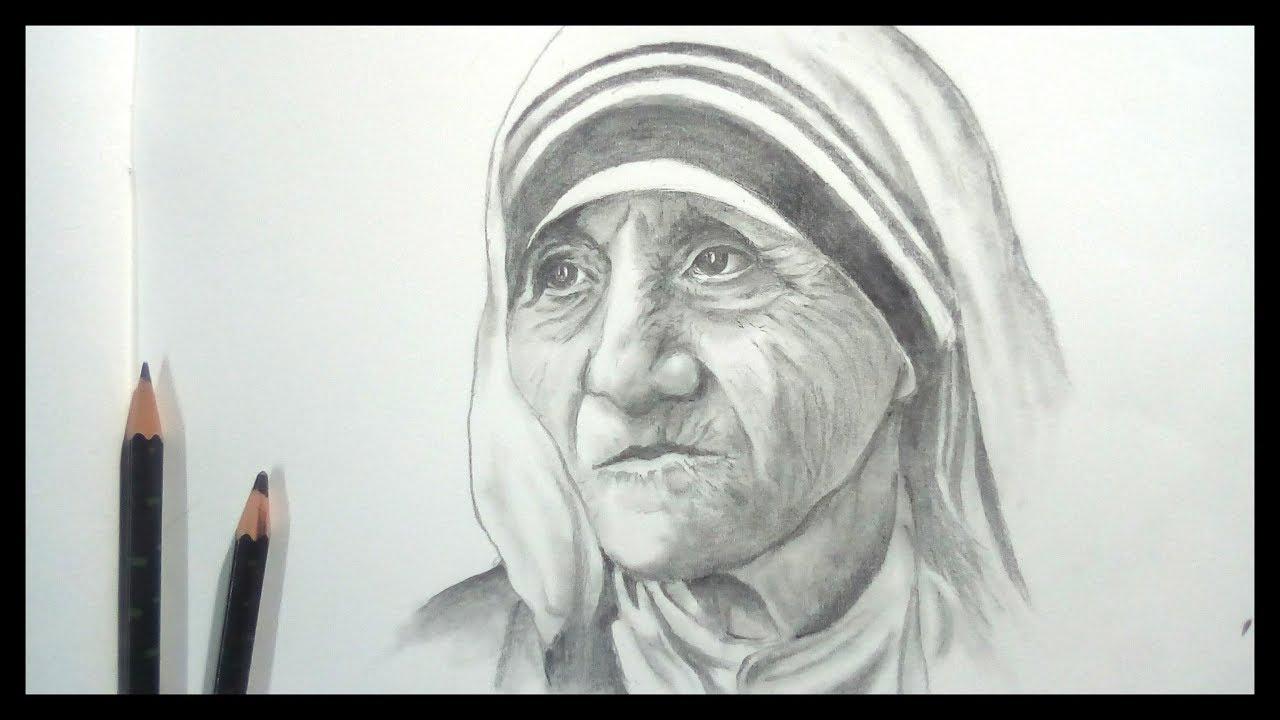 Drawing mother teresa step by step banglar art