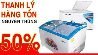 Bán thanh lý tủ đông kem kính cong Alaska 200 lít, 300 lít, 400 lít, inverter tiết kiệm 50% điện