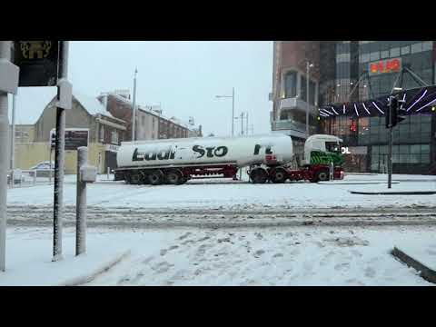 Tanker truck trapped, due to heavy snowfall