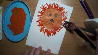 рисуем львёнка вилкой.  Draw a lion with a fork