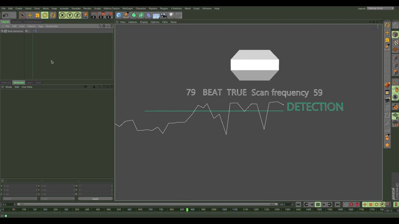 Beat detection Xpresso c4d [20 likes download] It lagged a few microsecs  due to recording
